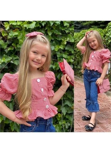 Quzucuk Kids Kız Çocuk Kırmızı Pitikareli Çantalı Takım Kırmızı